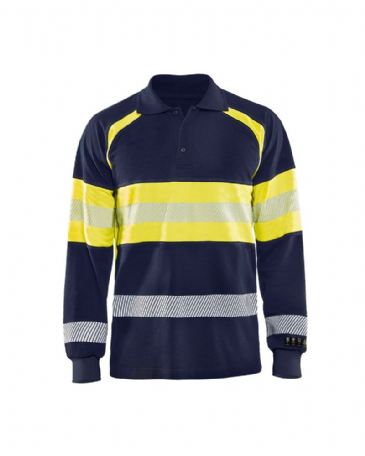 Blaklader 3438 Multinorm Pique Long Sleeves (Navy Blue/Yellow)